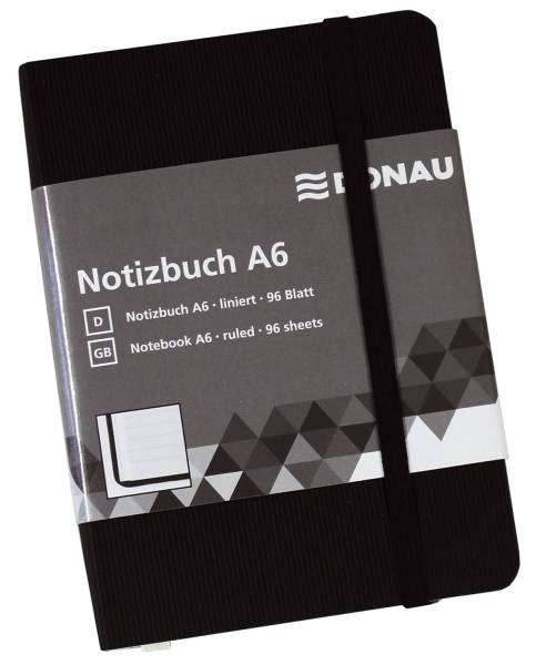 Notizbuch A6, liniert, 192 Seiten, schwarz