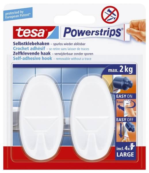 Powerstrips Systemhaken ablösbar, oval, weiß, Tragfähigkeit 2 kg®