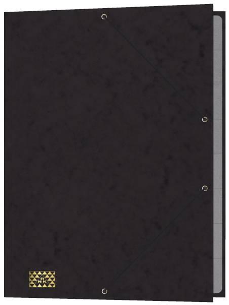 RNK Gummizugmappe 35x25cm schwarz 4616-9 9Fächer