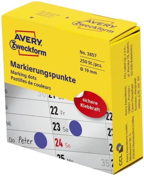 3853 Markierungspunkte Ø 19 mm, Spender mit 250 Etiketten, blau
