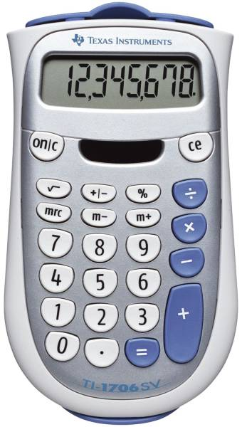 Taschenrechner TI 1706 SV, Solar und Batteriebetrieb, 80 x 145 x 18 mm