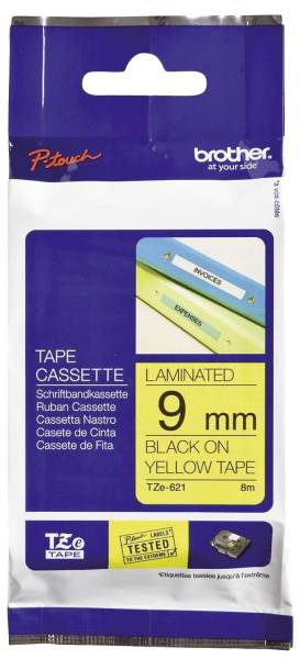 TZe 621 Schriftbandkassette laminiert, 9 mm x 8 m, schwarz auf gelb