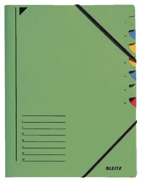 3907 Ordnungsmappe 7 Fächer, A4, Pendarec Karton (RC), 430 g qm, grün