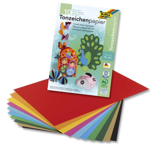 Tonpapierblock A3, 10 Farben sortiert, 10 Blatt