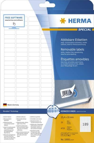 10001 Etiketten A4 weiß 25,4x10 mm Movables ablösbar Papier matt 4725 St