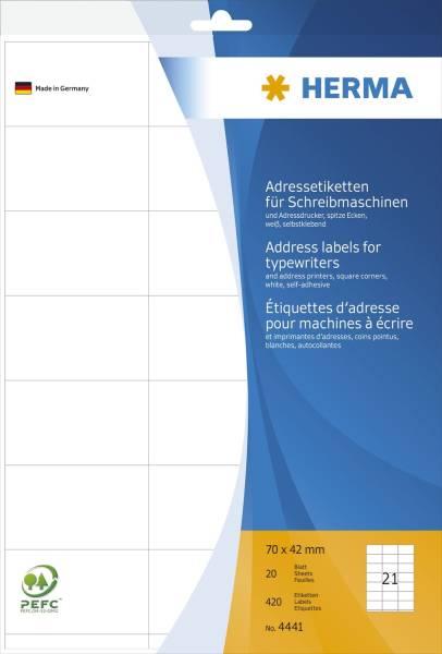 HERMA Adressetiketten 70x42mm weiß 4441 420 Stück permanent haftend