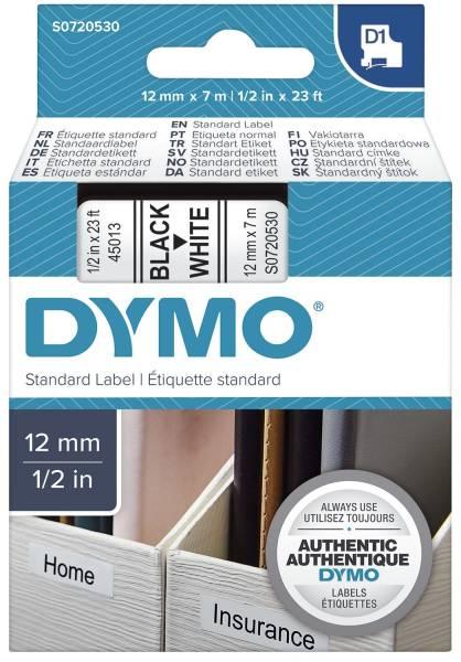 DYMO Schriftband 12mmx7m schw/weiß S0720530 45013