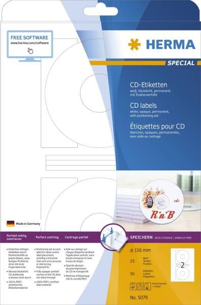 HERMA Universaletiketten CD Ø116 weiß 5079/8381 50 Stück permanent