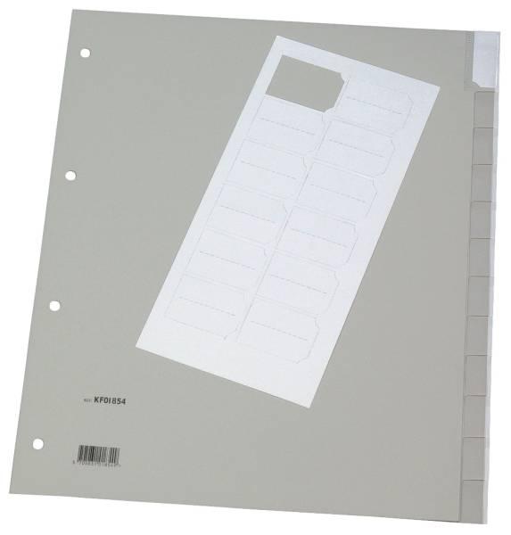 Register blanko, PP, A4 Überbreite, 12 Blatt, grau