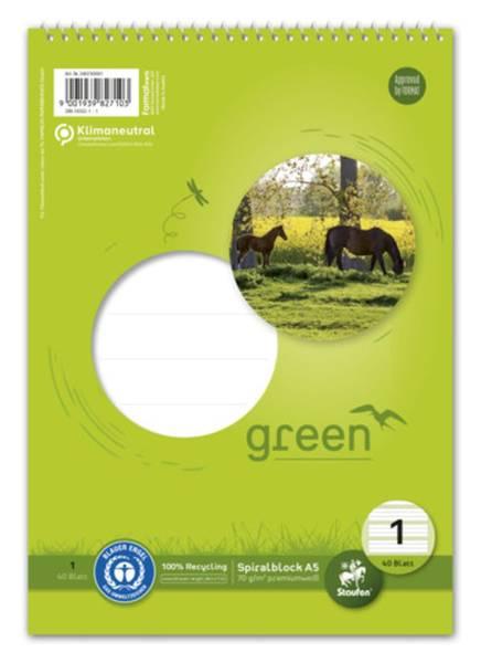 STAUFEN GREEN Spiralblock A5 40BL Lin1 040740001 70g