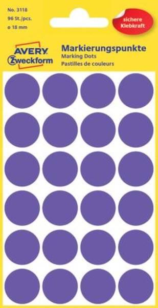 3118 Markierungspunkte Ø 18 mm, 4 Blatt 96 Etiketten, violett