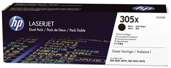 HP Lasertoner Nr.305X HY schwarz CE410XD Doppelpack