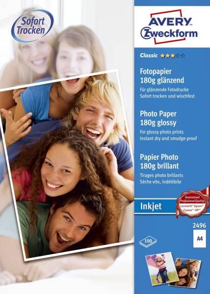 AVERY ZWECKFORM Inkjet Fotopapier A4 100BL ws 2496