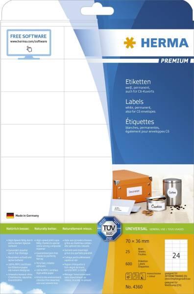 4360 Etiketten Premium A4, weiß 70x36 mm Papier matt 600 St