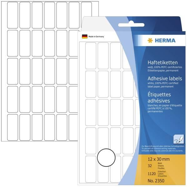 HERMA Etiketten 12x30mm 1120 Stück weiß 2350 permanent haftend