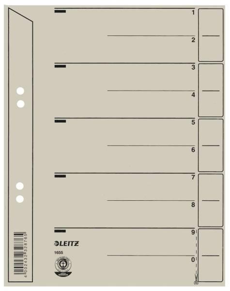 1654 Trennblätter Lochung geöst, Überbreite, A4, grau, 100 Stück