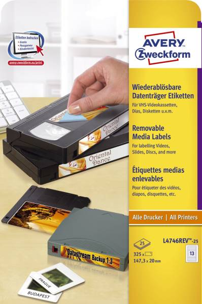 L4746REV 25 Etiketten für VHS Videokassetten, wiederablösbar, 147,3 x 20 mm, 25 Blatt 325 Etiketten,