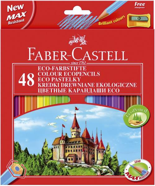 FABER CASTELL Farbstiftetui Castle 48ST sort 120148 m.Spitzer