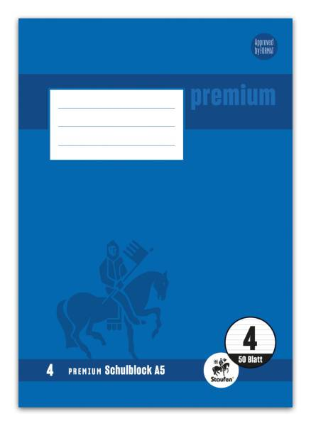 STAUFEN PREMIUM Schulblock A5 50BL Lin.4 liniert 734042004