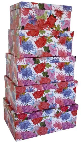 Geschenkkarton Blumen 5 tlg , hoch