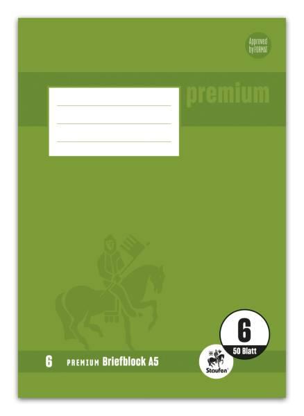 STAUFEN PREMIUM Briefblock A5 50BL blanco 90g weiß 734040250