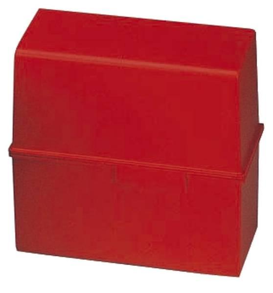 Karteibox DIN A5 quer, für 450 Karten mit Stahlscharnier, rot