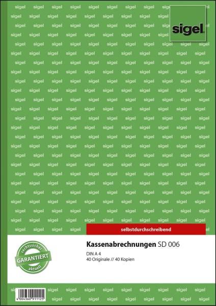 Kassenabrechnungen A4, 1 und 2 Blatt bedruckt, SD, MP, 2 x 40 Blatt
