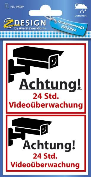 AVERY ZWECKFORM Warnetikett Videoüberwacht 59389