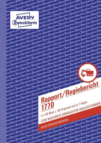 1770 Rapport Regiebericht, DIN A5, selbstdurchschreibend, 2 x 40 Blatt, weiß, gelb