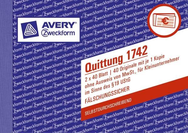 1742 Quittung Kleinunternehmer, 1 und 2 Blatt bedruckt, SD, DIN A6 quer, 2x40 Blatt