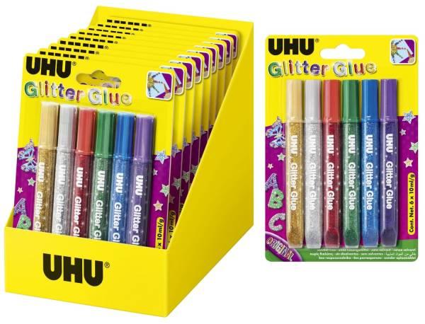 UHU Glitterglue 10ml 6ST sortiert 39040