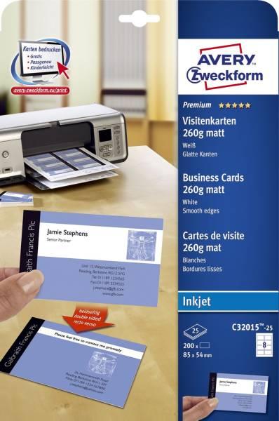 C32015 25 Premium Visitenkarten, 85 x 54 mm, Inkjet Spezialbeschichtung beidseitig matt, 25 Blatt 20