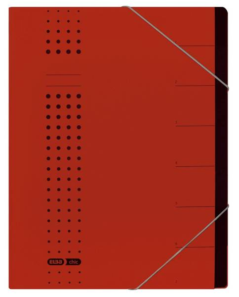 Ordnungsmappe chic 7 Fächer, A4, Karton (RC), 450 g qm, rot
