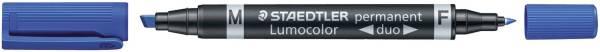 Permanentmarker Lumocolor duo nachfüllbar, 0,6 mm und 1,5 4 mm, blau®