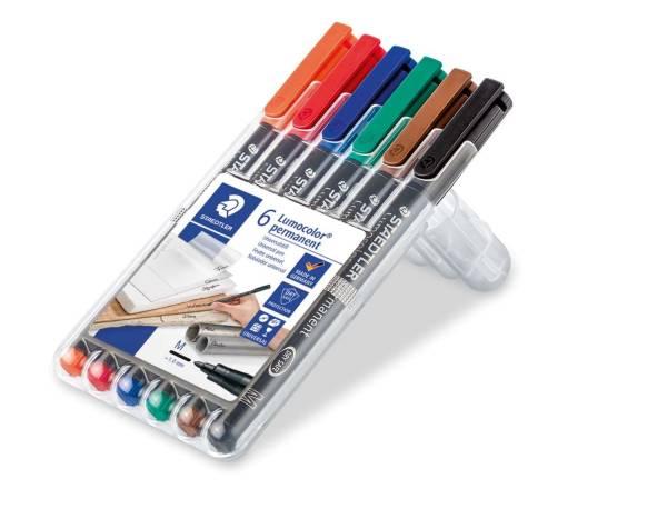 STAEDTLER Folienstift Lumocolor M 6 Farben sort. 317 WP6 permanent