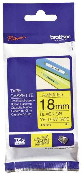 TZe 641Schriftbandkassette laminiert, 18 mm x 8 m, schwarz auf gelb