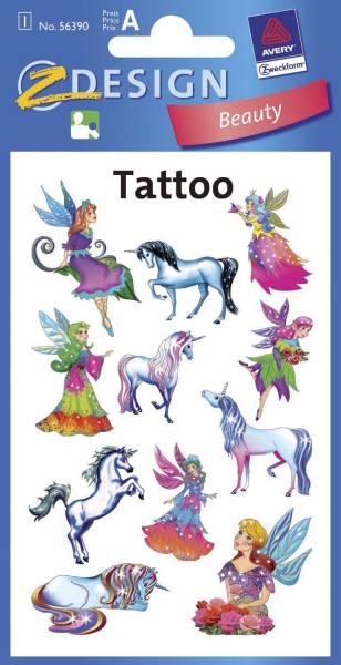 Z Design 56390, Kinder Tattoos, Elfen, Einhörner, 1 Bogen 11 Tattoo