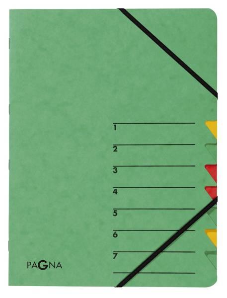 Ordnungsmappe EASY 7 Fächer, A4, Pressspan, 265 g qm, grün