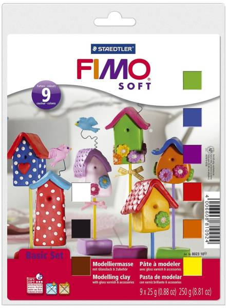 Modelliermasse FIMO soft Basis Set Kunststoff, 9 x 25 g, sortiert®