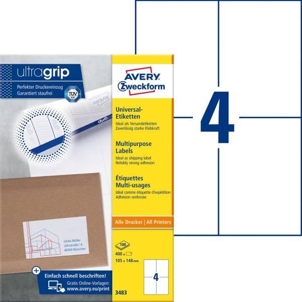 3483 Universal Etiketten 105 x 148 mm, weiß, 400 Etiketten 100 Blatt, permanent