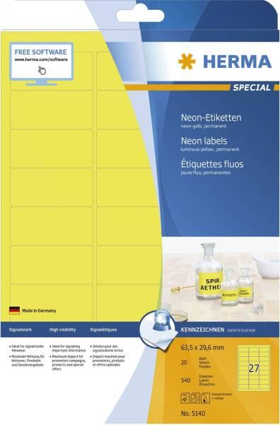 5140 Etiketten A4 neon gelb 63,5x29,6 mm Papier matt 540 St