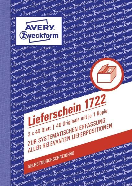 AVERY ZWECKFORM Lieferscheinbuch A6/2x40BL SD 1722