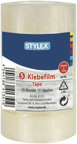 STYLEX Klebefilm 18mm 33m transp. 41351 5Rl