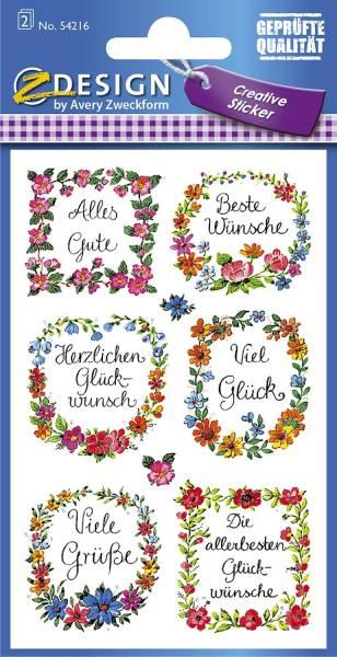 Z Design 54216, Deko Sticker, Glückwünsche, 2 Bogen 16 Sticker