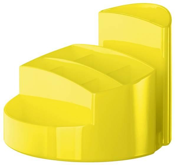 Schreibtischköcher RONDO 9 Fächer, Gummifüße, Briefschlitz, New Colours gelb