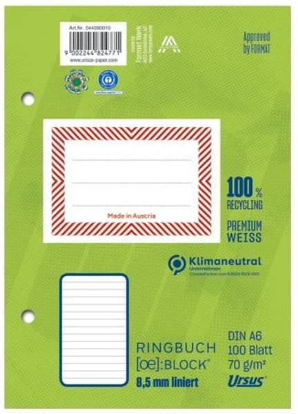 Ringbuchblock A6 100 Blatt 70g qm 8,5mm liniert