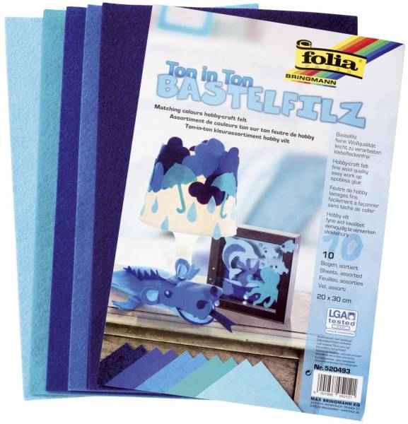 Filz Ton in Ton 20x30cm blau