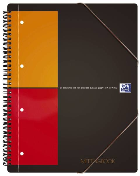 International Meetingbook 2 in 1 Block und Gummizugmappe, A4+, kariert, 80 Blatt, grau