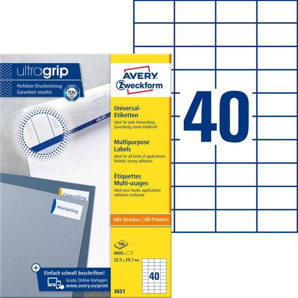 3651 Universal Etiketten 52,5 x 29,7 mm, weiß, 4 000 Etiketten 100 Blatt, permanent