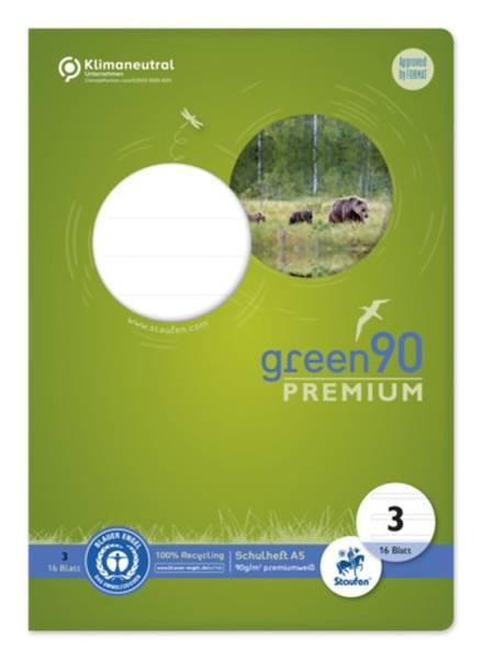 STAUFEN GREEN Heft LIN3 A5 16 Blatt 14 Doppellinien 040780003 90g